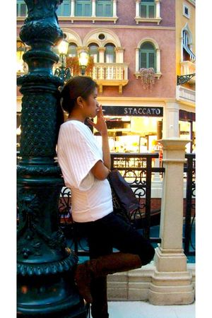 black Topshop leggings - brown Centropelle boots - white totally forgot blouse -