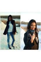 black Hameedias blazer - blue Macys jeans - white unknown brand top