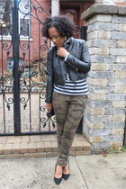 army green camo Zara pants - black moto Motojacket jacket