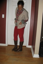 ruby red bell sleeves shirt shirt - dark brown buttons on side boots boots