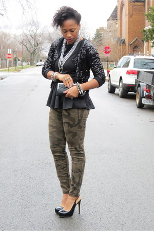 black peplum piperlime shirt - black sequined Zara sweater