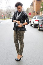black peplum piperlime shirt - black sequined Zara sweater