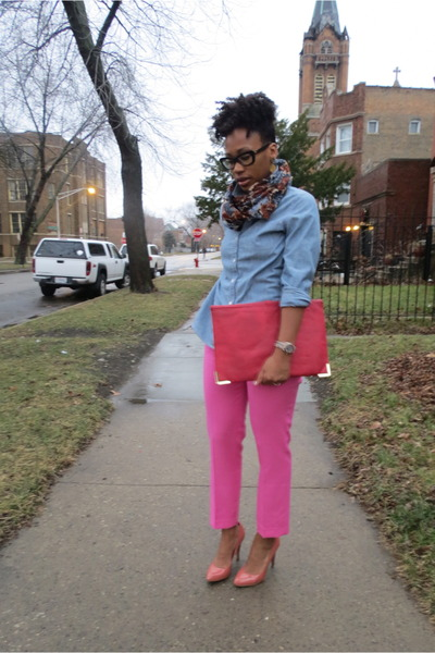 navy floral Dash Me scarf - salmon Zara shoes