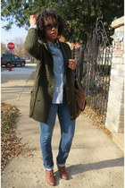 forest green knitted Zara sweater - brown ankle Zara boots