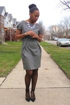black ankle strap Zara heels - heather gray Zara dress