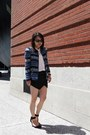Blue-zara-jacket-black-zara-shorts-dark-brown-ray-ban-sunglasses