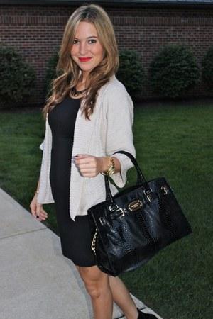black H&M dress - beige H&M sweater - black Michael Kors bag - black BCBG wedges