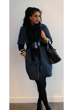 blue River Island coat - black cardigan - black Nine West shoes - black HUE tigh