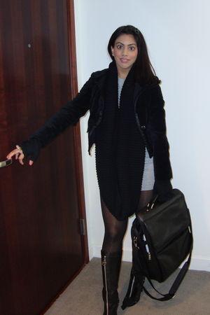 black Kors by Michael Kors boots black HUE tights gray bianca nygard
