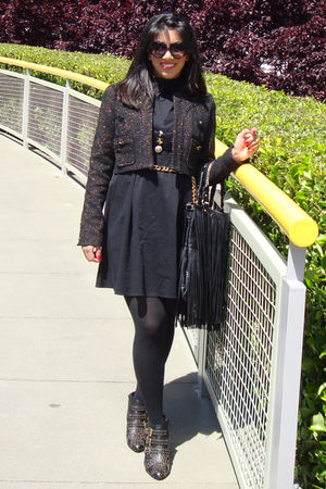 black River Island dress - black River Island jacket - black H&M purse - black J