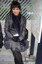 black HUE tights - gray Miss Selfridges coat - black H&M gloves - black River Is