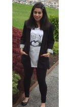 black Zara blazer - white H&M t-shirt - black Mexx leggings - black Nine West sh