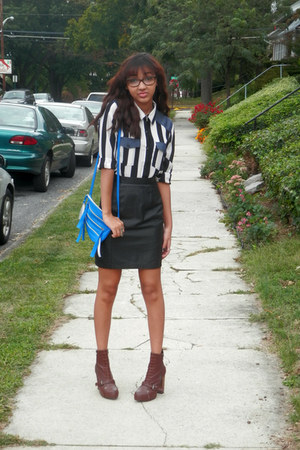 leather skirts vintage skirt - denim Forever 21 blouse