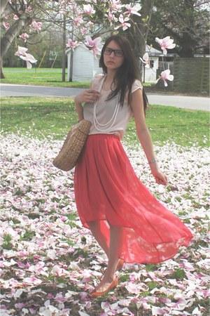 coral LC skirt - neutral Loft shirt - camel bag - white accessories