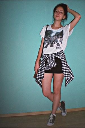 H&M checked shirt - black Mix Basic skirt