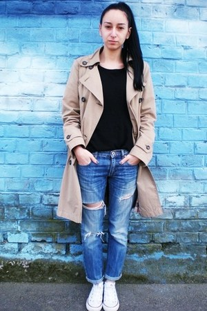 camel Zara coat - blue DIY Detroit jeans - black H&M top