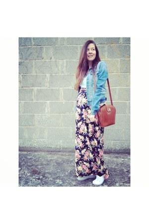 H&M jacket - bag - new look pumps - H&M t-shirt - new look skirt