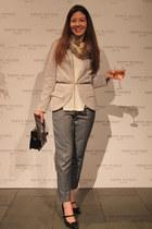 silver Boohoo blazer - beige Oliver Bonas scarf - black new look bag