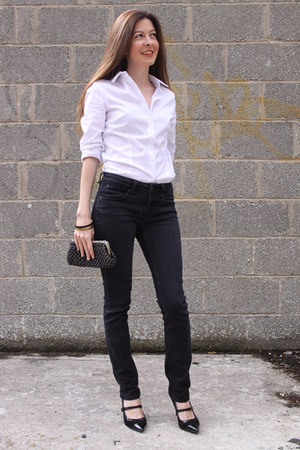 white cotton asos shirt - black denim Topshop jeans
