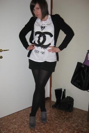 black Zara cardigan - white To The Black t-shirt - black Calzedonia socks - blac