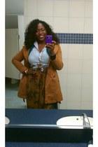 tan vintage skirt - boots - light blue Mossimo top - brown necklace - bracelet