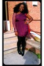 Black-leather-zara-boots-magenta-mesh-dress-black-tights
