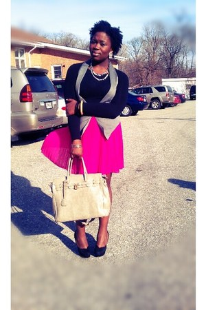 charcoal gray vest - black shirt - beige bag - hot pink skirt - black pumps