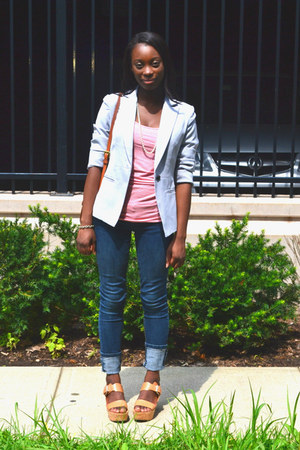 soft Forever 21 blazer - skinny jeans - H&M top - wedges