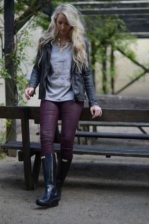 dark gray Muubaa jacket - black Wedge Welly boots - silver 2ndDay sweater