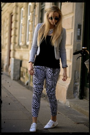 zebra print Message pants - grey H&M blazer - rayban sunglasses - asos necklace