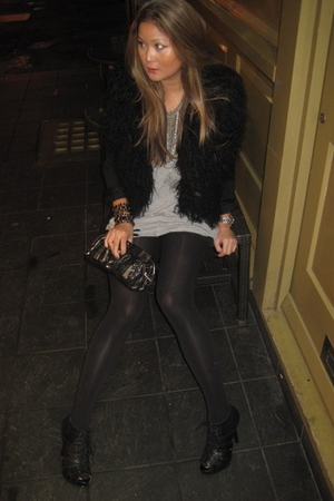 black Zara vest - black new look boots