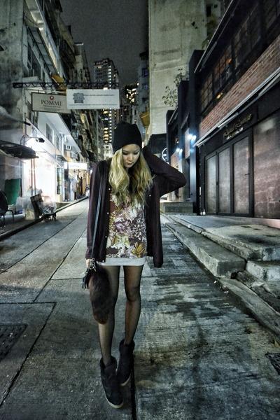 Christopher Kane top - black Top Shop hat - heather gray H&M skirt