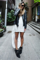 Barneys boots - Aje dress - leather versace jacket