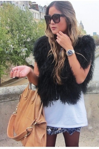black fur Zara vest - nude Givenchy bag - black Celine sunglasses