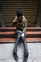 black Top Shop hat - olive green Maison Skotch jacket - black Aje leggings