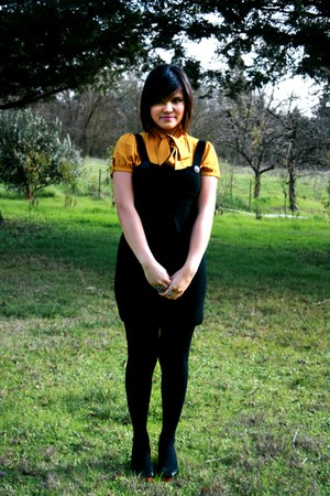 black tights - black jumper - mustard blouse - black heels - Owl & Flower ring