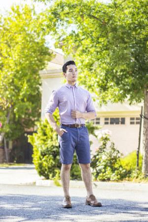 checkered H&M shirt - merona shorts