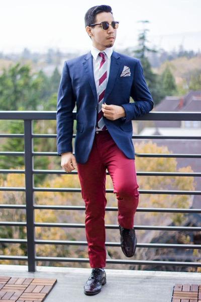 blue Chookhare & Sons blazer - Sprezza NYC tie