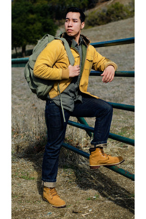 mustard Timberland boots - navy DKNY jeans - yellow LET GOOD FORTUNE jacket