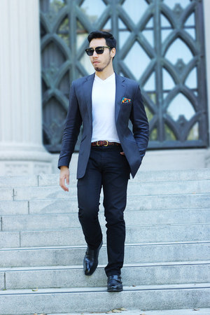 cobalt blue ted baker blazer - chamanes Sammy Icon socks - handmade accessories