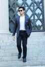 Cobalt-blue-ted-baker-blazer-chamanes-sammy-icon-socks-handmade-accessories