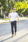 Clarks-shoes-v-neck-puma-shirt-black-chinos-levis-pants
