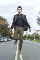 brown H&M blazer - stafford shoes - green ecko jeans - collared Mossimo shirt