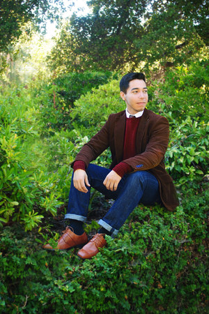 brown H&M blazer - red wool Ralph Lauren sweater