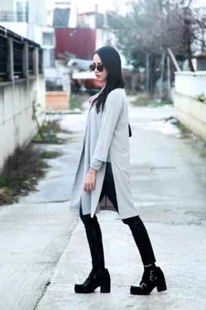 hm boots - long line AX Paris jacket - Chanel bag - leather hm pants