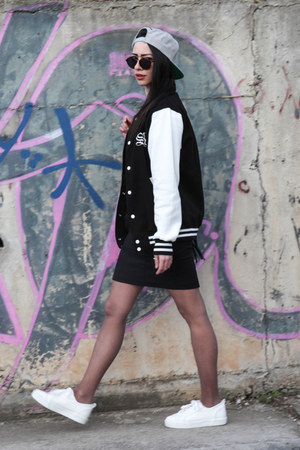 milanoo dress - Sneak aces hat - Sneak aces jacket - Bershka sneakers