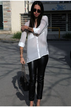white Stradivarius shirt - Chanel bag - round LGR sunglasses - leather H&M pants