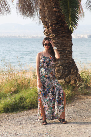 maxi AX Paris dress - round LGR sunglasses - birkenstocks H&M flats