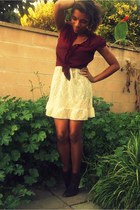 ruby red Forever 21 blouse - cream Thrift Store dress - brown Forever21 loafers
