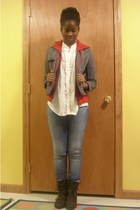 Arizona sweater - alloy jacket - Charlotte Russe blouse - Seven jeans - Miss Me